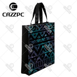 fold hand bag UK - Hand Drawn Black Cosmos Aztec Tribal Totem Print individual Waterproof Nylon Oxford Shopping Bag Gift Bag Recycle Bag