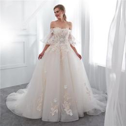 $enCountryForm.capitalKeyWord NZ - 2019 Real Image Fairy Off The Shoulder Wedding Dresses Short Sleeve Lace Up Back 3D Flora Appliques Sweep Train Church Arabic Style Bridal