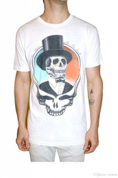 $enCountryForm.capitalKeyWord Australia - 2018 Short Sleeve Cotton T Shirts Man Clothing Adult White Rock Music Grateful Dead Top Hat Skull Live With Dead T-Shirt Tee