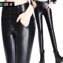 2a9f2199c6601 2016 Thicken Winter PU faux leather pants women patchwork high waist button  fly pencil pants female trousers legging Plus size