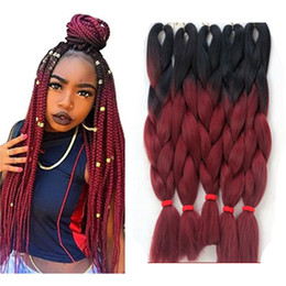 ombre two tone synthetic braiding hair Australia - Kanekalon Ombre Color Braiding Hair Free Shipping via ePacket Two Tone Colors Synthetic Jumbo Braids Hair Extensions Folded 24 Inch 100g Pc