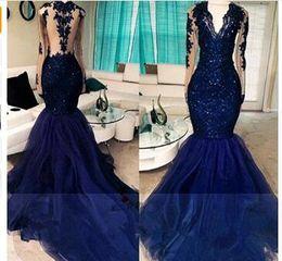 $enCountryForm.capitalKeyWord Australia - Navy Blue Elegant Long Sleeve Prom Dresses 2018 Lace Beads Beads Mermaid Formal Evening Gowns Vestido de Renda Festa Galajurken