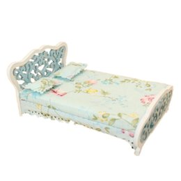 Chinese  1 12 Dollhouse Miniature Furniture bedroom carved bed princess bed Light blue manufacturers