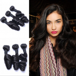 $enCountryForm.capitalKeyWord Australia - Indian Human Hair Weave Bundles Loose Wave Bundles Unprocessed Machine Double Weft 3 Bundles Natural Color FDSHINE