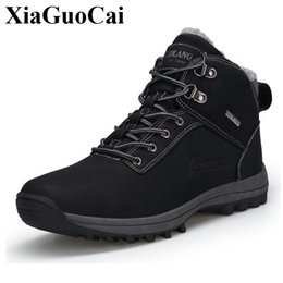 Warm Waterproof Winter Sneakers NZ - Men Sneakers with Fur Winter Warm Cotton Shoes Fleeces High Top Lace-up Snow Boots Antiskid Waterproof Outdoor Male Casual Shoes
