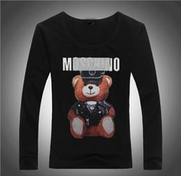 2018 Nova Marca de Verão Tops Moda Tees Mulheres VOGUE Urso Impresso Harajuku T Shirt Preto Branco Feminino T-shirt Camisas Tees Senhoras Tshirt Mo61 venda por atacado