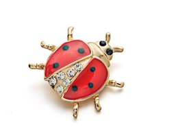 ladybug clothing UK - Lovely Enamel Ladybug Beetle Collar Brooch Pin Crystal Cute Clothes Accessories Brooches For wedding party jewelry christmas gift