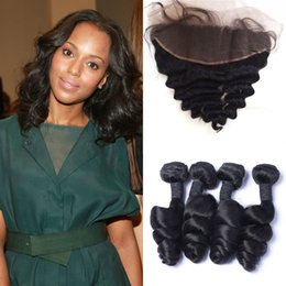 virgin malaysian hair closure loose wave 2019 - Indian Human Hair Weaves With Lace Frontal Closure 13*4inch Virgin Loose Wave 3pcs Hair Bundles With Frontal G-EASY disc
