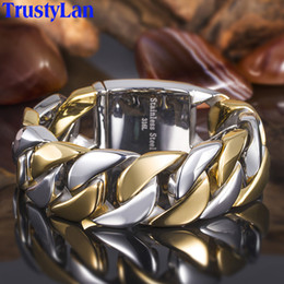 Discount stainless steel friendship bangles - TrustyLan 23MM Wide Thick Chain Solid Golden Stainless Steel Men Bracelet Biker Jewelry Friendship Mens Bracelets & Bang