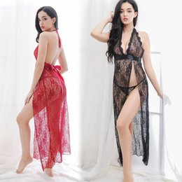 eaca60a34d Hot sale Free size Womens Sexy Nightwear Lingerie lace maxi split dress  teddy dream hollow out Deep V neck sheer mesh dress S77
