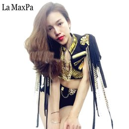 $enCountryForm.capitalKeyWord NZ - La MaxPa Sexy women stage costume for singers female singer dj ds gold mirror chain tassel sleeveless jacket clothes dance wear