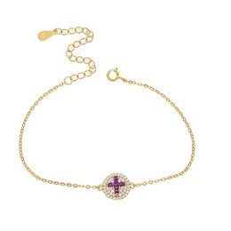 $enCountryForm.capitalKeyWord NZ - Round clasp purple cross Cubic Zircon Gold Chain Bracelet Jewelry Austrian Crystal lucky gift 925 silver OL women wedding bijoux