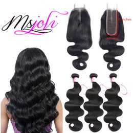 remy hair extensions closure unprocessed 2019 - Msjoli Human Hair Peruvian Body Wave Bundles With 2x6 Lace Closure Middle part Remy human hair extensions unprocessed vi