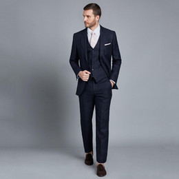 navy blue tuxedo weddings Canada - Tailored Made Navy Blue Men Suits for Wedding Slim Fit Groom Tuxedos 3Piece Jacket Pants Vest Terno Masculino Custom Made Costume Homme