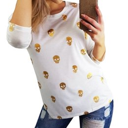 $enCountryForm.capitalKeyWord NZ - Women T Shirts Fashion Casual Loose Skull Printed shoulder long sleeve T-shirt Tops camisetas y tops