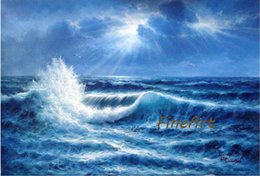 Pintado a mano pintura al óleo pintura al óleo olas oceánicas pintura acrílica paisaje marino citas inspiradoras artes salón elemento decorativo regalo único