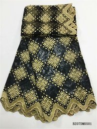 AfricAn dresses online shopping - black gold Hot Sale High Quality Yards Bazin Riche Getzner Latest African Bazin Riche Getzner Fabric Yards Mesh Tulle Lace Dress