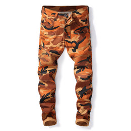 Leopard men s pants online shopping - New France Style Mens Distressed Knee Pad Moto Pants Ribbed Skinny Bleached Burgundy Biker Jeans Slim Trousers Size