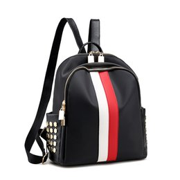 women sport cloth UK - 2017 fashion han edition of Oxford cloth double shoulder bag hot style nylon dress red and green striped backpack 6829