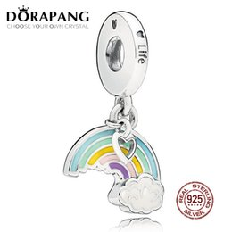 Wholesale DORAPANG Sterling Silver Rainbow of Love Charm Mixed Enamel Pendant Charms Bead For Mother Gift Bracelet DIY