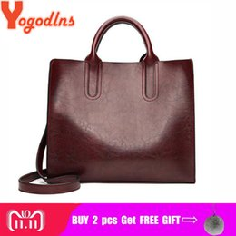 2019 Fashion Yogodlns Vintage Women Handbag Luxury Oil Wax PU Leather  Shoulder Bag Casual Tote Large Bolsos Trunk Tote Bag bfe6b652f8