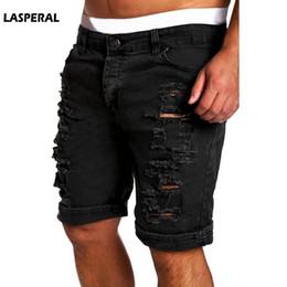 6e6a1286e50 wholesale Fashion Ripped Hole Denim Shorts Men Black White Slim Skinny  Straight Casual Jeans Shorts Men Vintage Low Waist Shorts