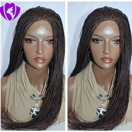 $enCountryForm.capitalKeyWord Canada - Stock 10-30inches black dark brown blonde  burgundy long braids lace wig cosplay style brazilian meidum braided lace front wig for women
