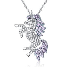 Women Crystal Necklace Shiny Rhinestone Unicorn Pegasus Pendant Neck Lace Animal Horse For Female Fashion Jewelry Girl Friend Birthday Gift