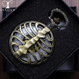 Vintage Watch Necklace Wholesale Canada - Unique Pocket Watch Spine Ribs Pattern Vintage Retro Necklace Pendant Clock Chain Mens Womens + Gift Box