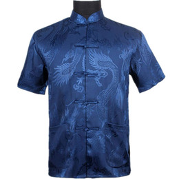 синий пояс оптовых-Top Vogue Navy Blue Men s Silk Satin Shirt Top Chinese Vintage Short Sleeve Garment Tang Suit S M L XL XXL XXXL