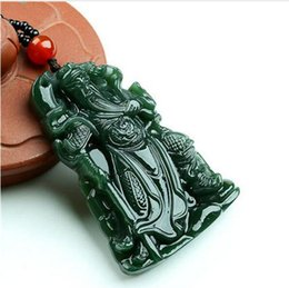 jade buddha charms UK - Super Natural XinJiang gr jade Carven GuanYu Pendant Amulet Necklace Buddha Sling Jewelry gift with Box