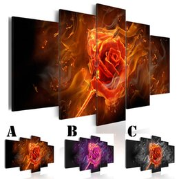 Chinese  Wall Art Picture Printed Oil Painting on Canvas No Frame 5pcs set Home Decor Extra Mirror Border Rose Flower on Fire manufacturers