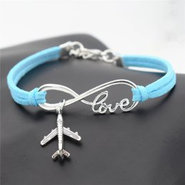 $enCountryForm.capitalKeyWord NZ - 2019 New Fashion Blue Color Leather Suede Rope Bracelet Women Men Charm Infinity Love Airplane Aircraft Pendant Wrap Metal Sport Jewelry Hot