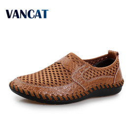 Men's Breathable Summer Shoes Australia - Summer Breathable Mesh Shoes Mens Casual Shoes Genuine Leather Slip On Brand Fashion Summer Shoes Man Soft Comfortable