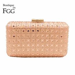 135bbf60c2 Boutique De FGG Champagne Rhinestone Crystal Clutch Purse Women Evening Bag  Wedding Party Prom Chain Shoulder Crossbody Handbag Y18102604