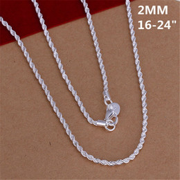 Discount hot necklace trends - New Hot necklace silver plated women lady party chain jewelry 2MM shiny Twisted Rope Necklace Fashion trends Jewelry Gif