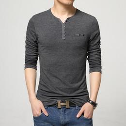 Mens Long V Neck T Shirts Canada - 2018 Fashion Mens Slim Fit Long Sleeve T Shirts Stylish Luxury Men V Neck Cotton T Shirt Tops Tee Plus Size M-5XL