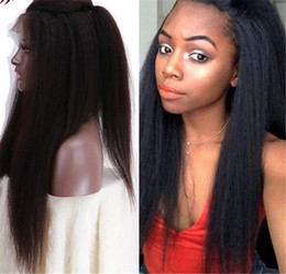 Yaki curlY wig online shopping - Lace Front Yaki Straight Human Hair Wigs Glueless Density Brazilian Virgin Remy Wigs with Baby Hair For Black Women Natural Color
