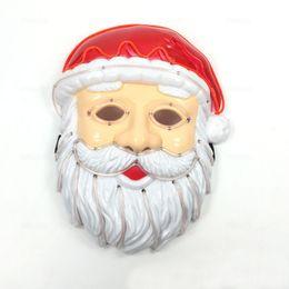 Neon Controller Australia - Santa Claus Face Mask Wire Flash Mask with 3V Voice Controller Neon Cold Light Mask Christmas Favors