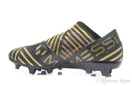best service c6694 430be 2018 new Nemeziz Messi 17+ 360 Agility FG men football shoes Messi s  exclusive work out bandage mummy black red gold no LACES soccer shoes