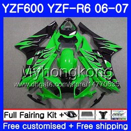 Yzf r6 fairing green online shopping - Body Tank For YAMAHA YZF R YZF YZF R6 Frame HM YZF Black flames green YZF600 YZFR6 YZF R6 Fairings Kit