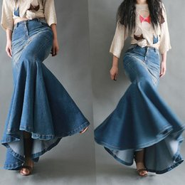 Wholesale spring long skirts for women for sale - Group buy TIYIHAILEY New Fashion Fish Tail Denim Mermaid Style Skirts For Women Denim Jeans Stretch S XL Long Maxi Skirt Slim Hip Spring