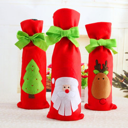 $enCountryForm.capitalKeyWord UK - Christmas Decor Red Wine Bottle Sleeve Wiith Green Bow Tie Embroidered Pattern Gift Bag Santa Claus 6 pcs lot Party Ornament Xmas