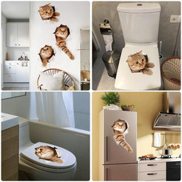 $enCountryForm.capitalKeyWord NZ - 3D Cats Wall Sticker Toilet Stickers Hole View Vivid Dogs Bathroom Home Decoration Animal Vinyl Decals Art Sticker Wall Poster free shipping