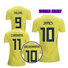 b749db2ad9a 2018 World Cup Colombia women Soccer Jerseys FALCAO Home Away thia quality  JAMES CUADRAD AGUILAR GUARIN colombia woman Football shirts
