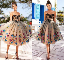 Tulle calf lengTh dress online shopping - Colorful Butterfly Black Nude Prom Dresses Sweetheart Appliques Tulle Calf Length Midi Short Party Dresses Zipper Up