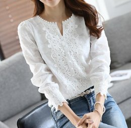 white crochet blouse NZ - Good Quality Spring Autumn White Blouse Chiffon Shirt Women Lace Crochet Pearl Beading Long Sleeve Top Office Lady S-XXL