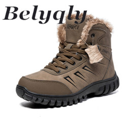 Discount winter wear shoes - Belyqly High Top Microfiber Leather Cotton Shoes for Men Casual Outdoor Boots Short Plush Anti-skidding Hard-wearing Plu