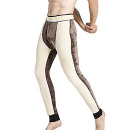 Wholesale long johns warm winter pants resale online - Winter Kneepad Man Keep Warm Pants Thickening Underpant Thermal Underwear Skinny Fleece Tights For Men Long Johns Pants