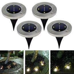 disk lamp 2019 - Waterproof Solar Powered 4LED Disk Lights Buried Light Outdoor Under Ground Lamp Stair Lights Lanterns Garden Decoration